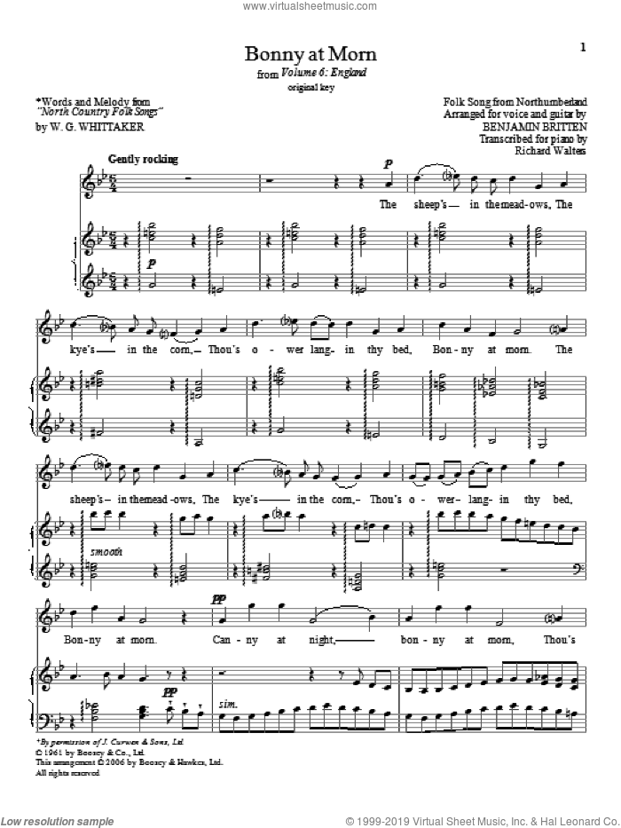 Bonny at morn (from Volume 6: England) sheet music for voice and piano (High Voice) by Benjamin Britten, classical score, intermediate skill level