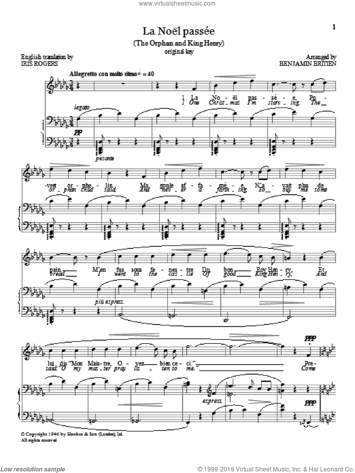 La Noel passee sheet music for voice and piano (High Voice) by Benjamin Britten, classical score, intermediate skill level