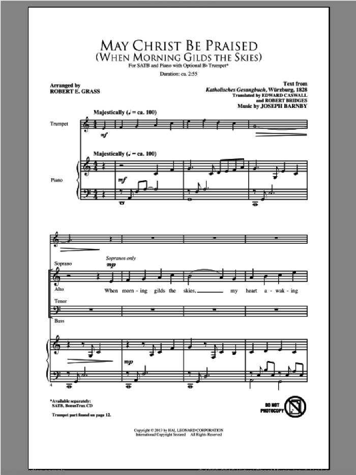 May Christ Be Praised sheet music for choir (SATB) by Robert E. Grass. Score Image Preview.