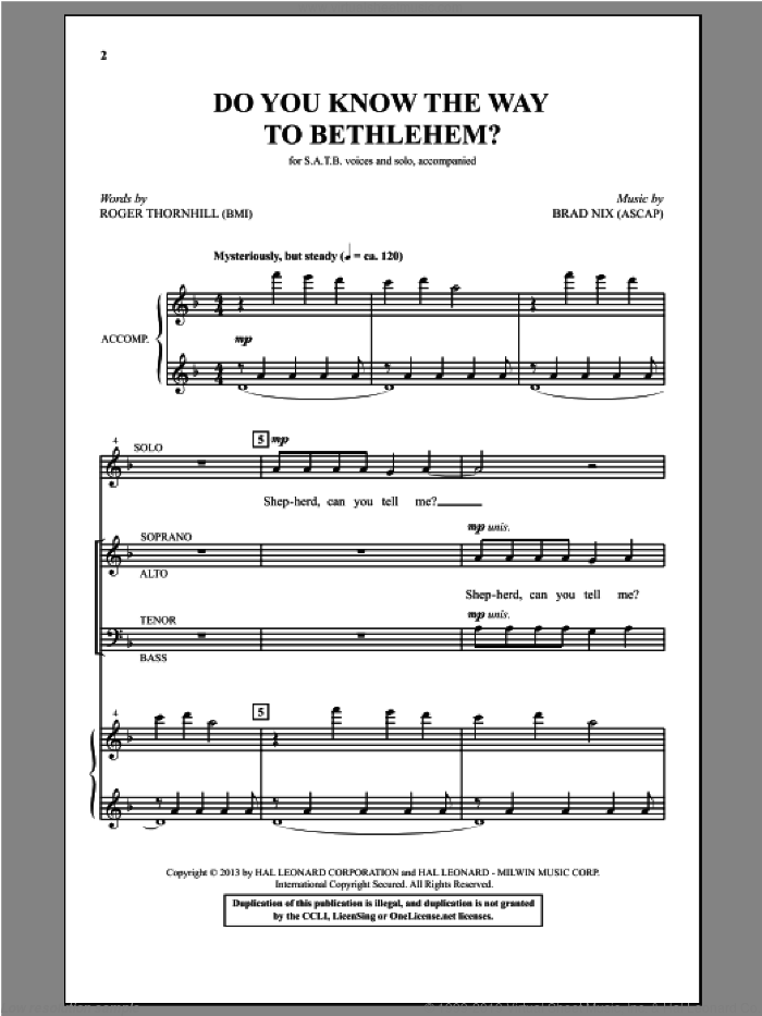 Do You Know The Way To Bethlehem? sheet music for choir (SATB: soprano, alto, tenor, bass) by Brad Nix and Roger Thornhill, intermediate skill level