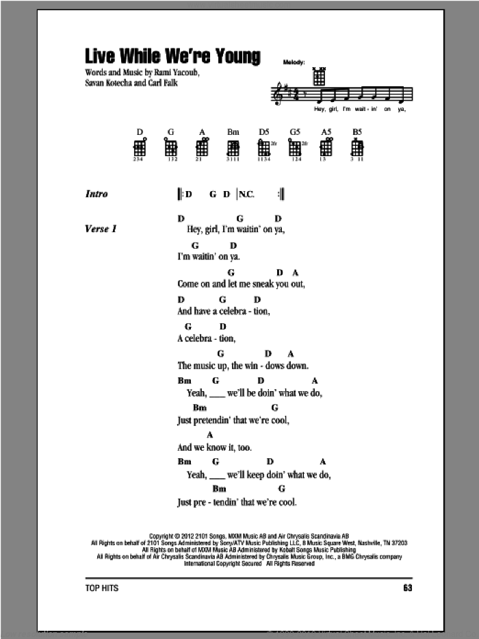 Live While We're Young sheet music for ukulele (chords) by One Direction