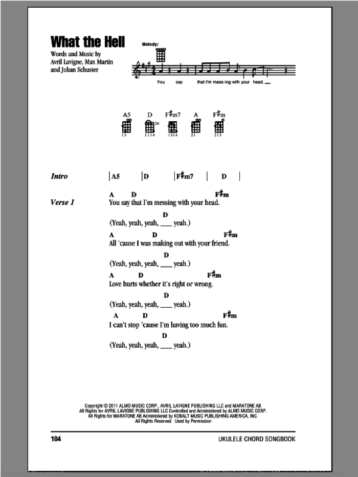 What The Hell sheet music for ukulele (chords) by Avril Lavigne, intermediate skill level
