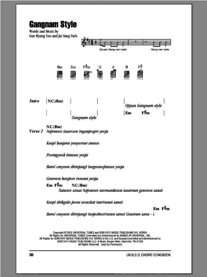 Gangnam Style sheet music for ukulele (chords) by PSY, intermediate skill level