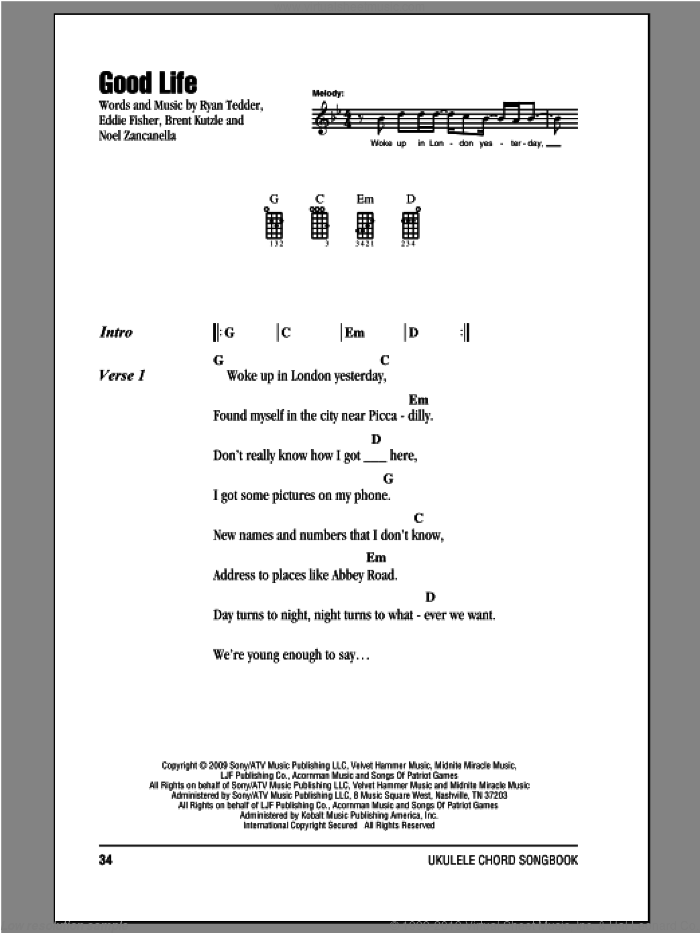 Onerepublic Good Life Sheet Music For Ukulele Chords Pdf