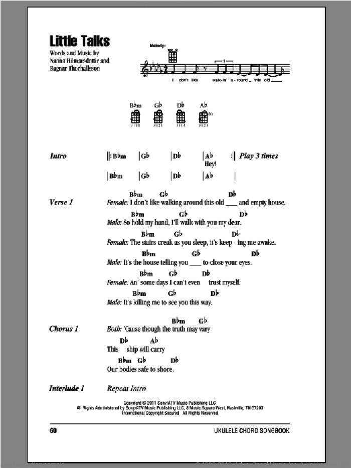 Little Talks sheet music for ukulele (chords) by Of Monsters And Men, intermediate