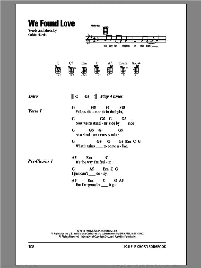 We Found Love sheet music for ukulele (chords) by Rihanna and Calvin Harris, intermediate skill level