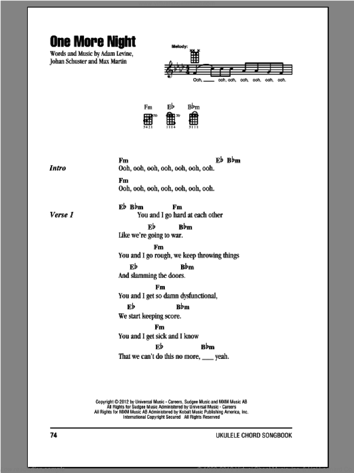 One More Night sheet music for ukulele (chords) by Maroon 5. Score Image Preview.