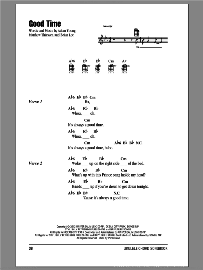 Good Time sheet music for ukulele (chords) by Owl City. Score Image Preview.