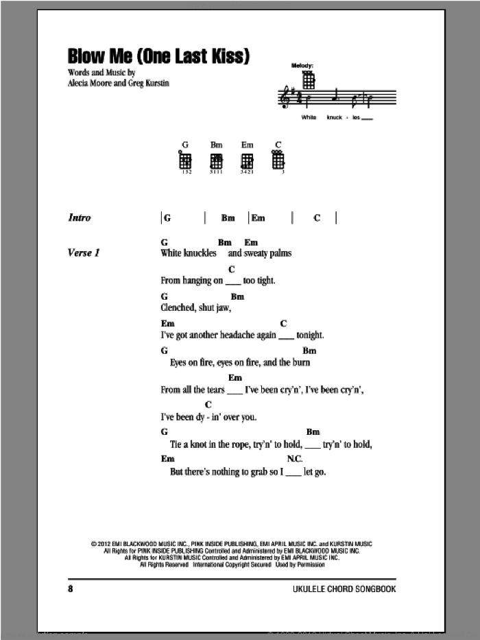 Blow Me (One Last Kiss) sheet music for ukulele (chords) [PDF]