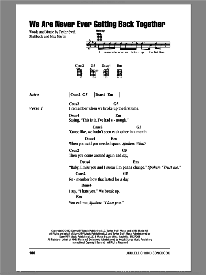 We Are Never Ever Getting Back Together sheet music for ukulele (chords) by Taylor Swift. Score Image Preview.