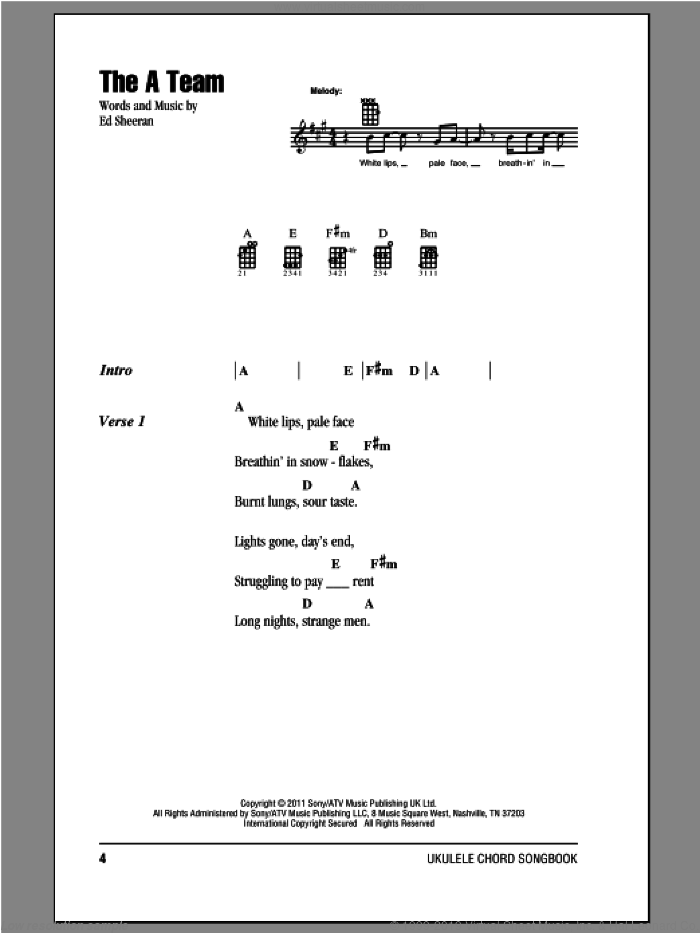 The A Team sheet music for ukulele (chords) by Ed Sheeran. Score Image Preview.