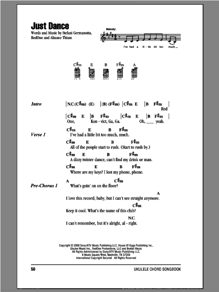 Just Dance sheet music for ukulele (chords) by Lady Gaga, intermediate skill level