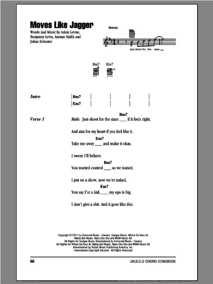 Moves Like Jagger sheet music for ukulele (chords) by Maroon 5. Score Image Preview.