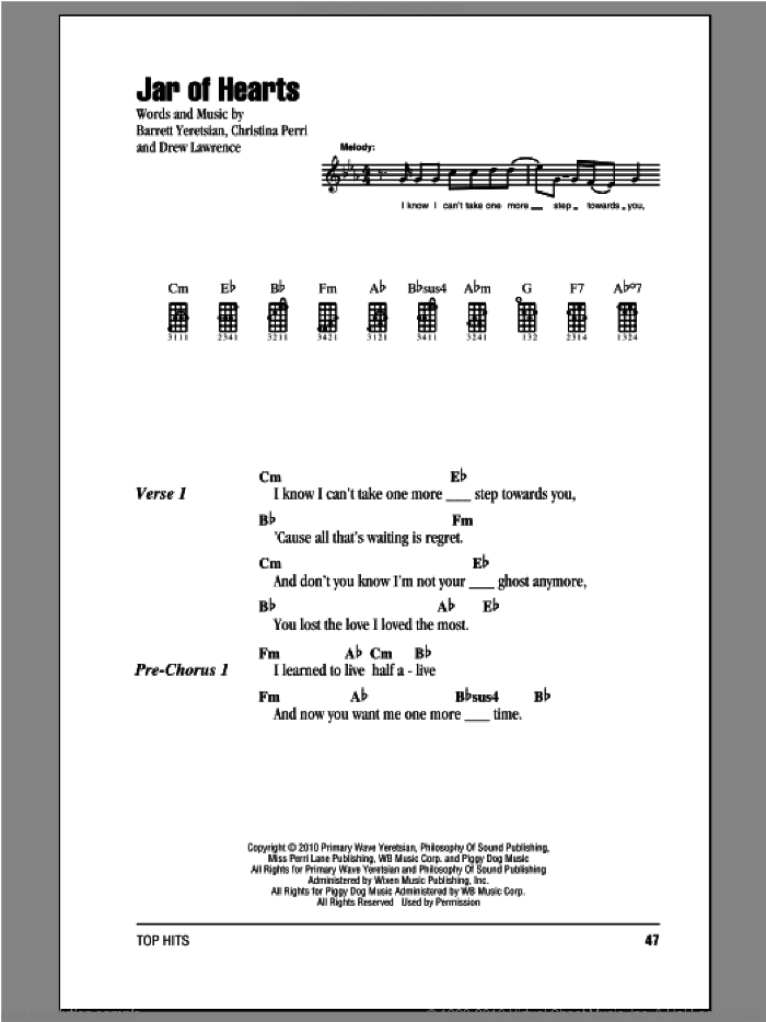 Jar Of Hearts sheet music for ukulele (chords) by Christina Perri. Score Image Preview.