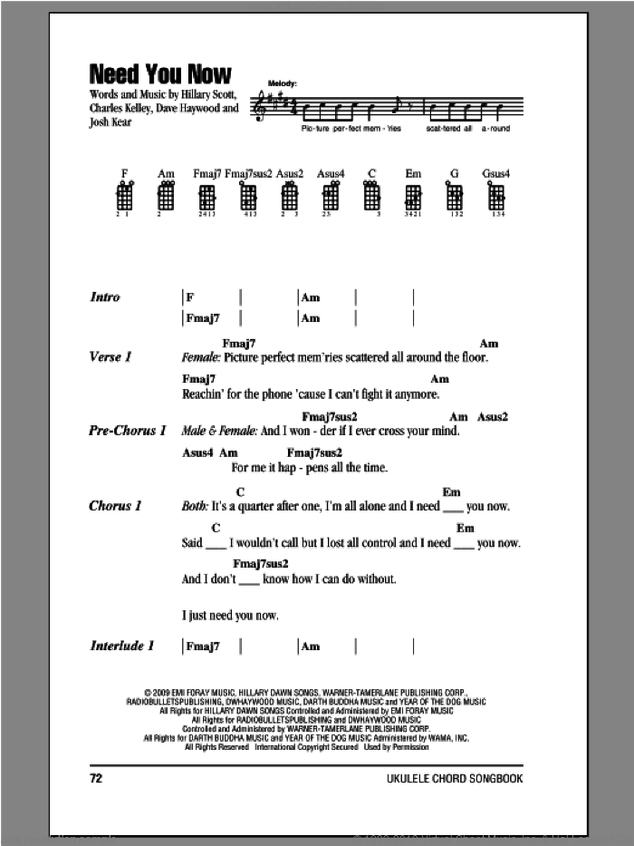 Need You Now sheet music for ukulele (chords) by Lady Antebellum, intermediate skill level