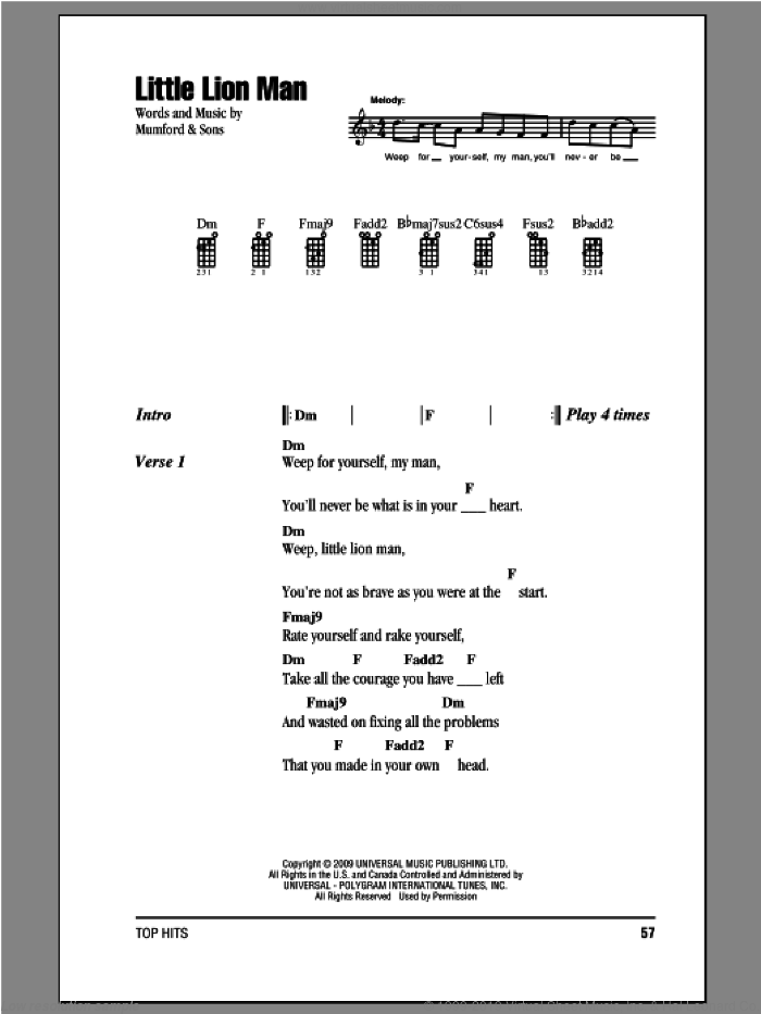 Little Lion Man sheet music for ukulele (chords) by Mumford & Sons, intermediate