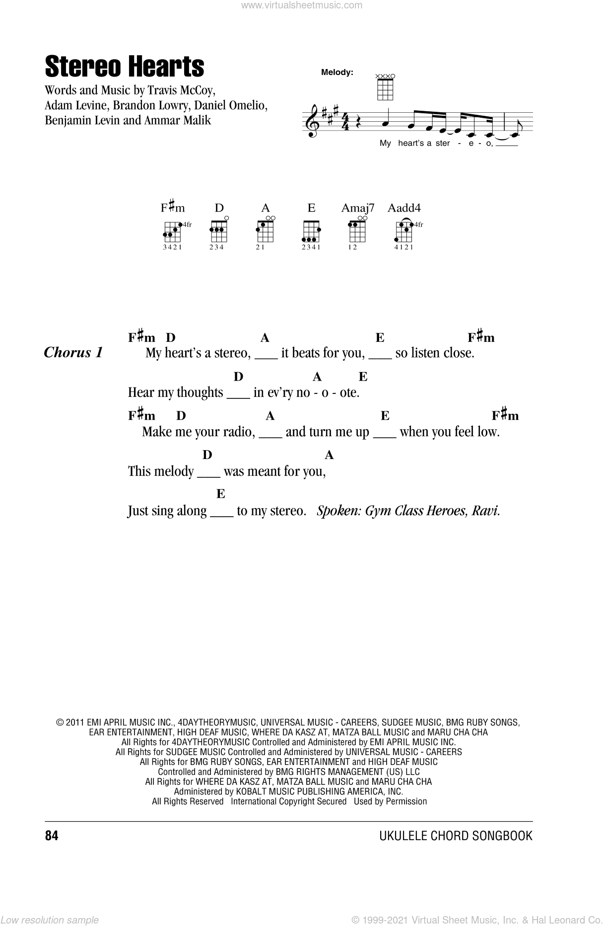 Stereo Hearts sheet music for ukulele (chords) by Gym Class Heroes