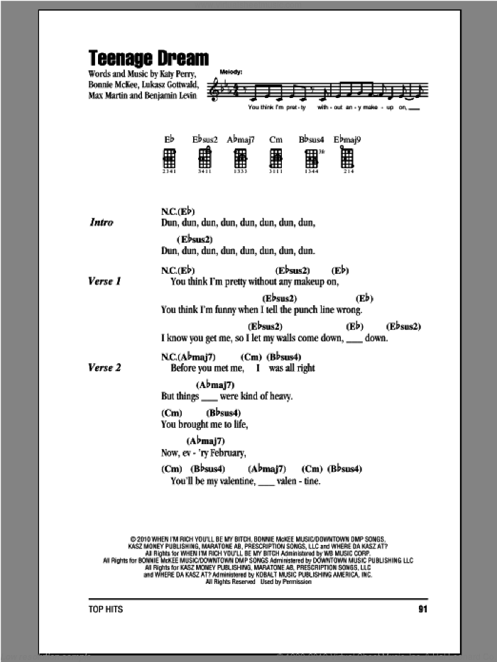 Teenage Dream sheet music for ukulele (chords) by Katy Perry