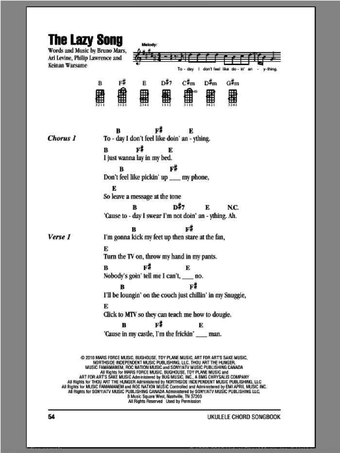 The Lazy Song sheet music for ukulele (chords) by Bruno Mars, intermediate. Score Image Preview.