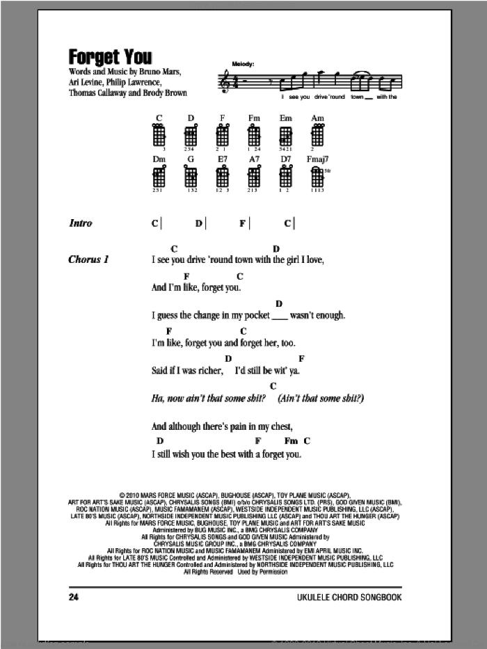 Green Forget You Sheet Music For Ukulele Chords Pdf