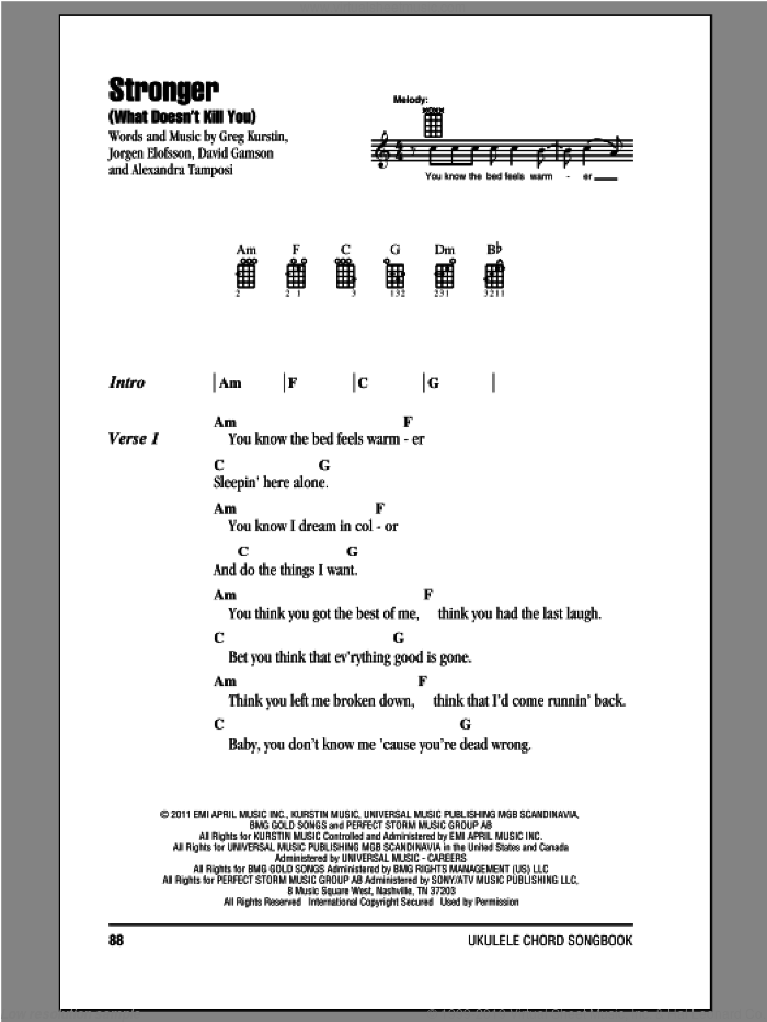 Stronger (What Doesn't Kill You) sheet music for ukulele (chords) by Kelly Clarkson. Score Image Preview.