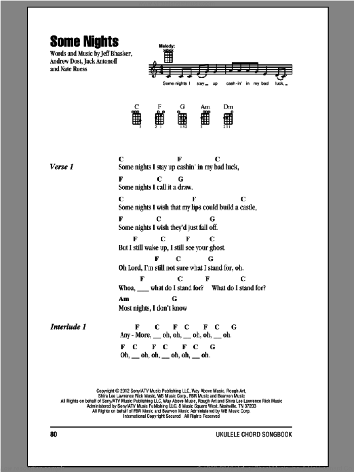 Some Nights sheet music for ukulele (chords) by Fun, intermediate skill level