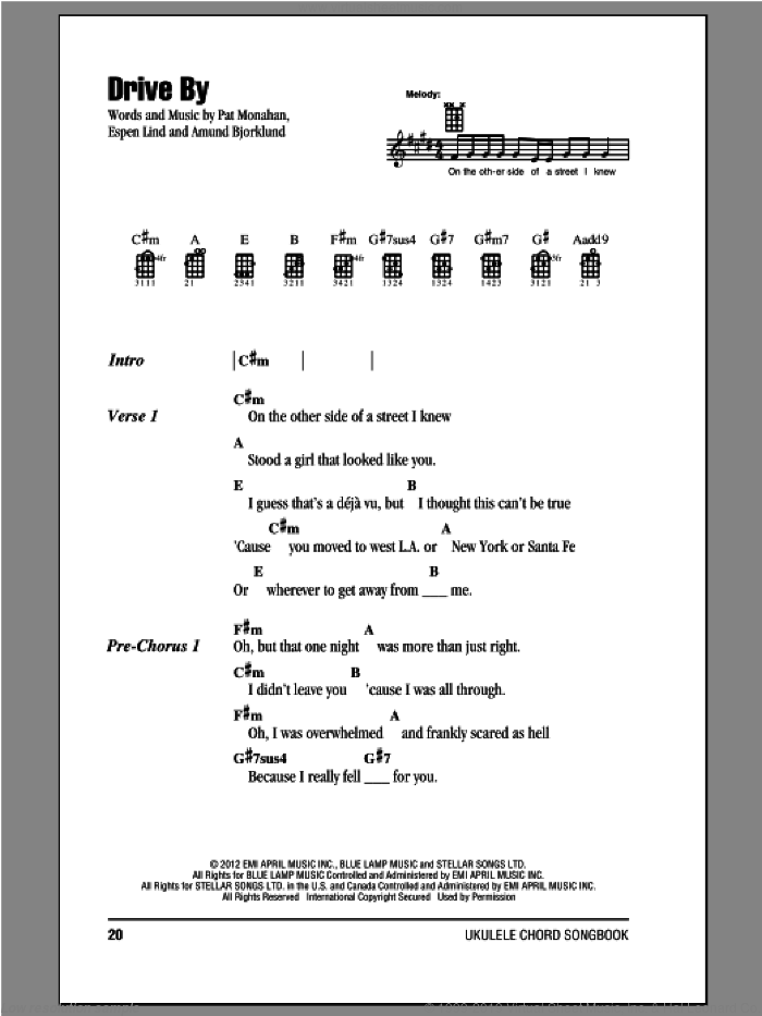 Drive By sheet music for ukulele (chords) by Train. Score Image Preview.