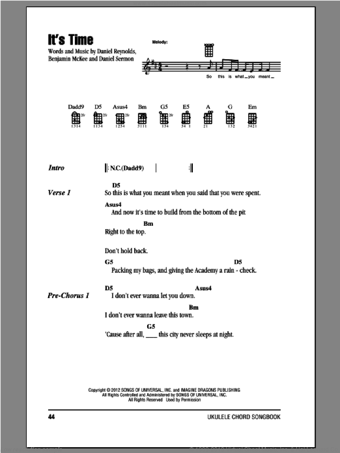 It's Time sheet music for ukulele (chords) by Imagine Dragons, intermediate skill level