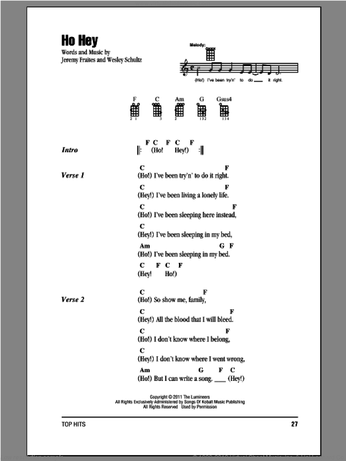 Ho Hey sheet music for ukulele (chords) by The Lumineers