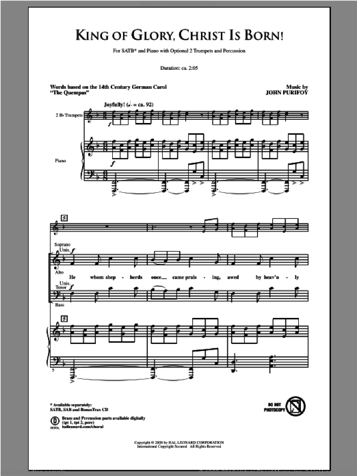 King Of Glory, Christ Is Born! sheet music for choir (SATB: soprano, alto, tenor, bass) by John Purifoy, intermediate skill level