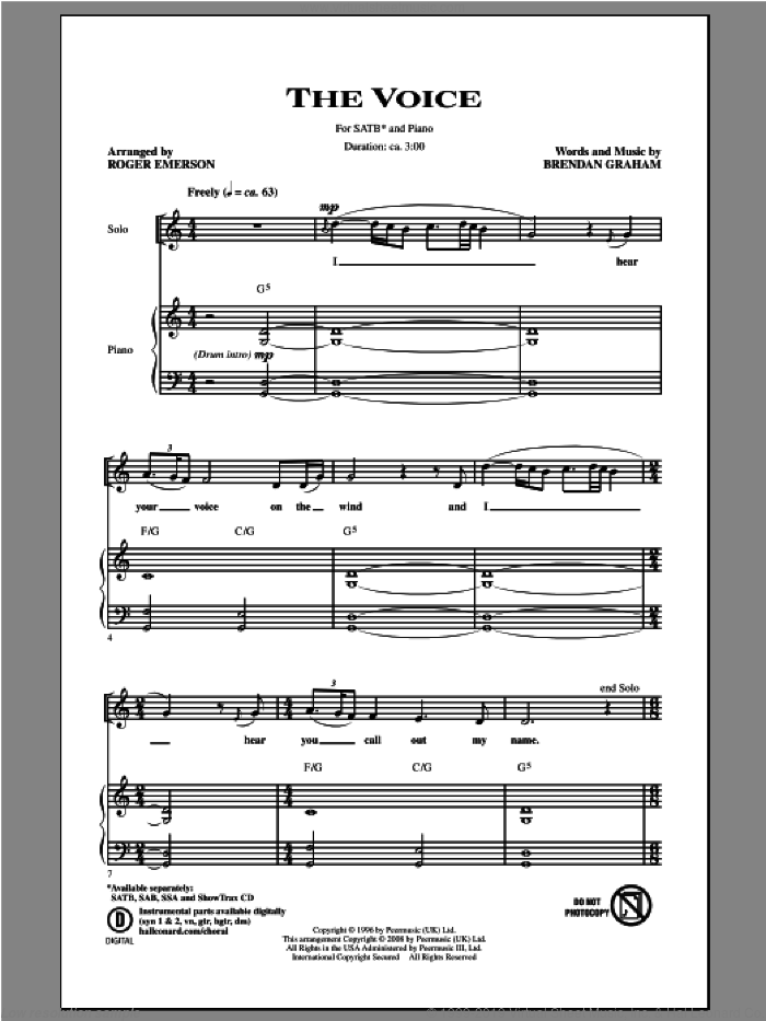 The Voice sheet music for choir (SATB: soprano, alto, tenor, bass) by Roger Emerson and Brendan Graham, intermediate