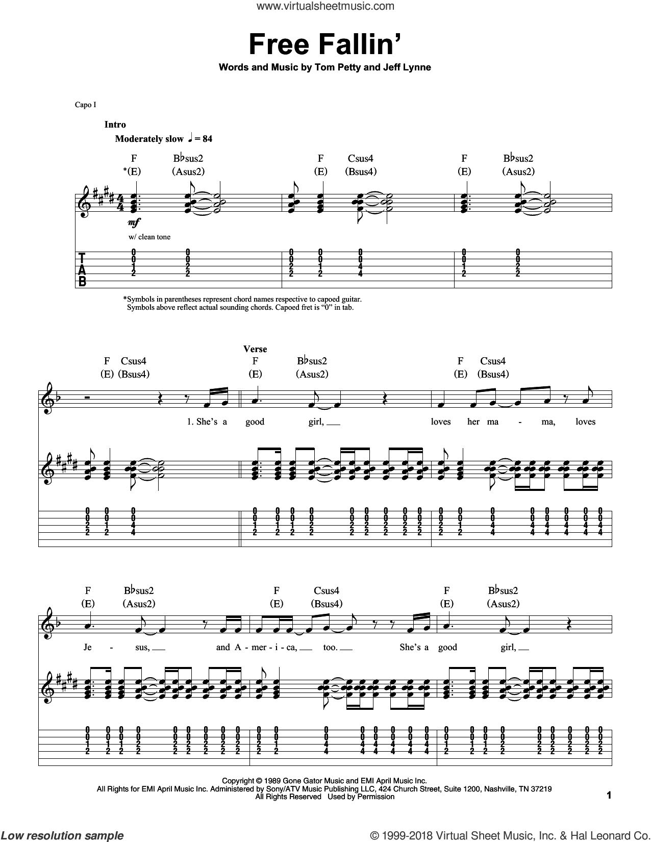 Free Fallin' sheet music for guitar (tablature, play-along) by Tom Petty and Jeff Lynne. Score Image Preview.