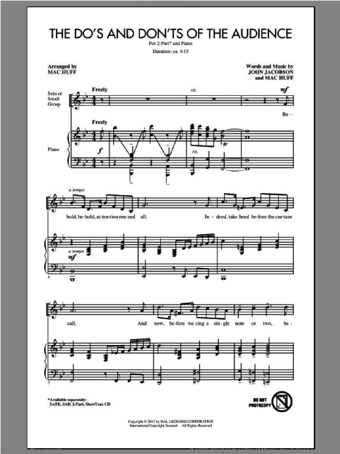 The Do's And Don'ts Of The Audience sheet music for choir (2-Part) by Mac Huff and John Jacobson, intermediate duet. Score Image Preview.
