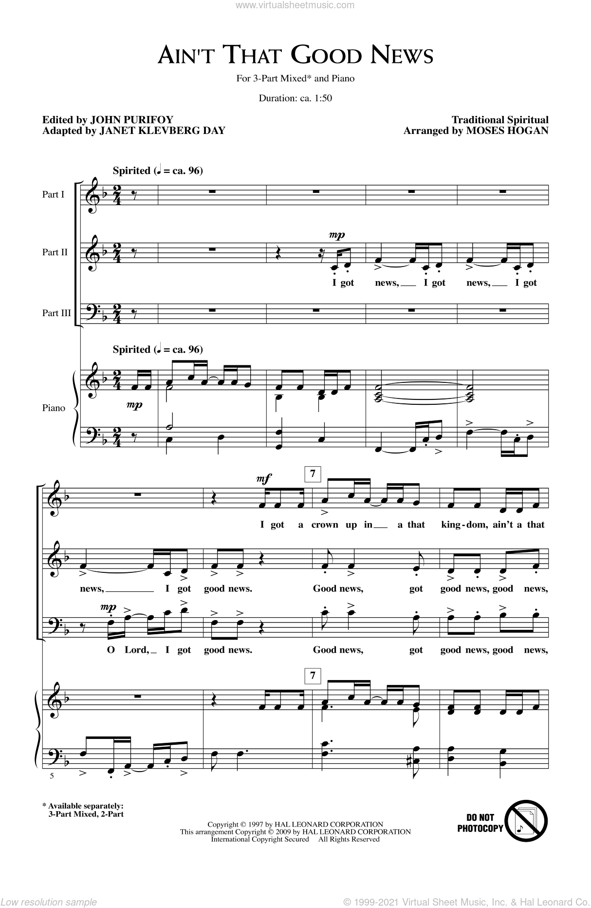 Ain't That Good News sheet music for choir and piano (chamber ensemble) by Moses Hogan