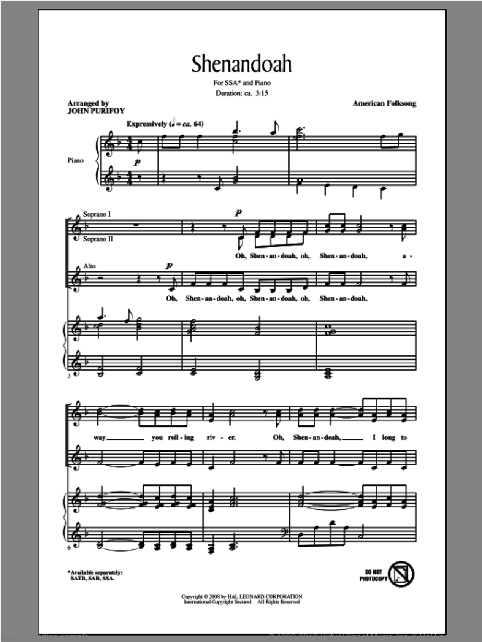 Shenandoah sheet music for choir (soprano voice, alto voice, choir) by John Purifoy, intermediate choir (soprano voice, alto voice, choir). Score Image Preview.