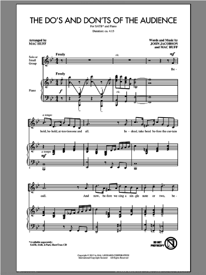 The Do's And Don'ts Of The Audience sheet music for choir (SATB) by Mac Huff and John Jacobson, intermediate choir (SATB). Score Image Preview.