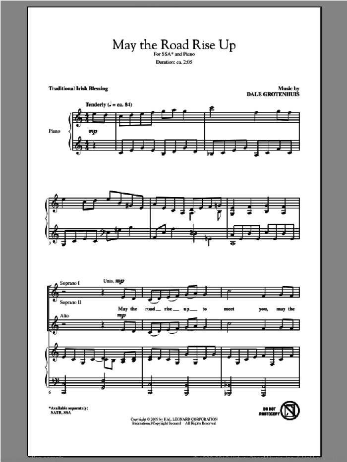May The Road Rise Up sheet music for choir and piano (SSA) by Dale Grotenhuis. Score Image Preview.