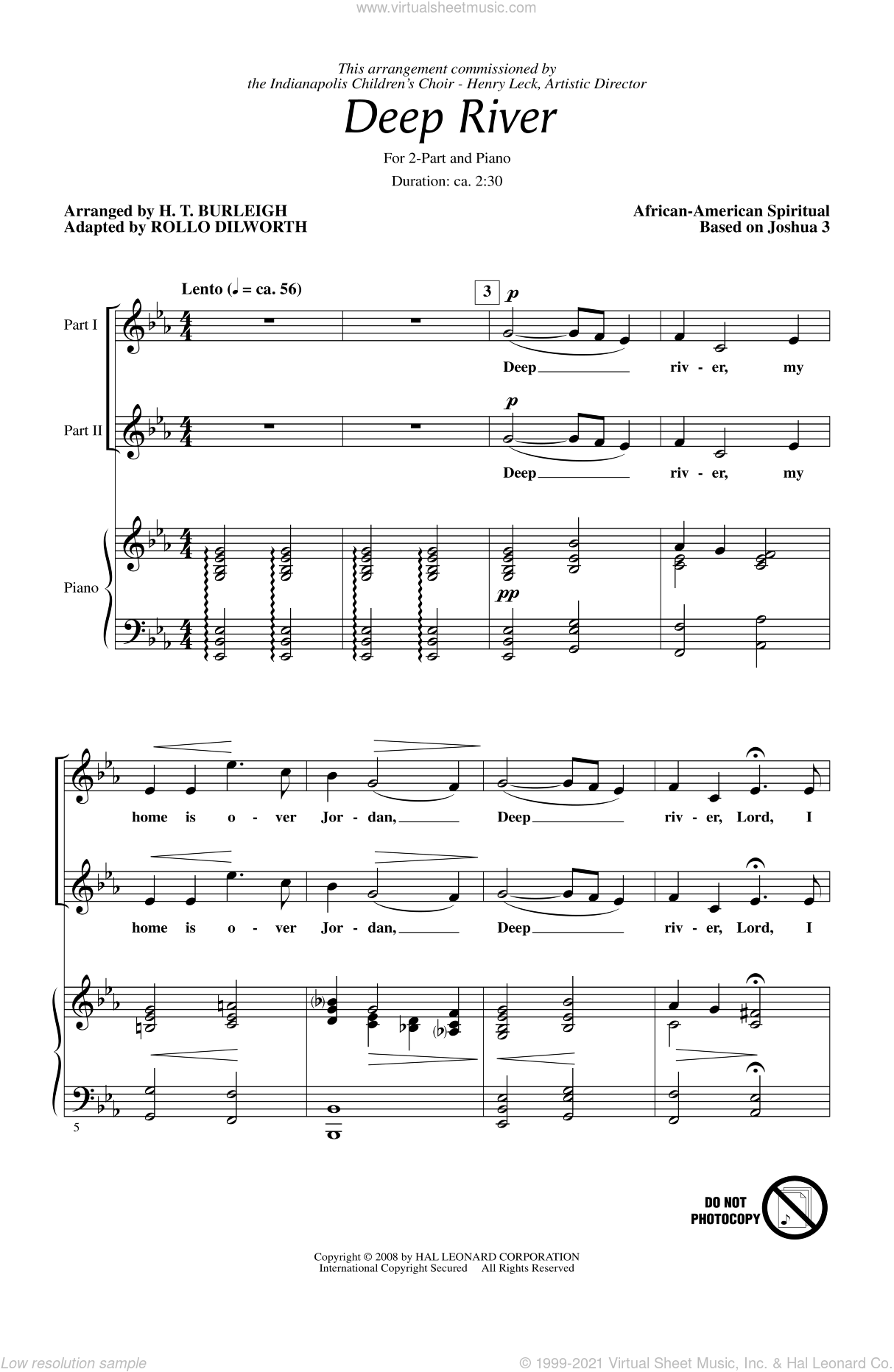 Deep River sheet music for choir and piano (duets) by Rollo Dilworth