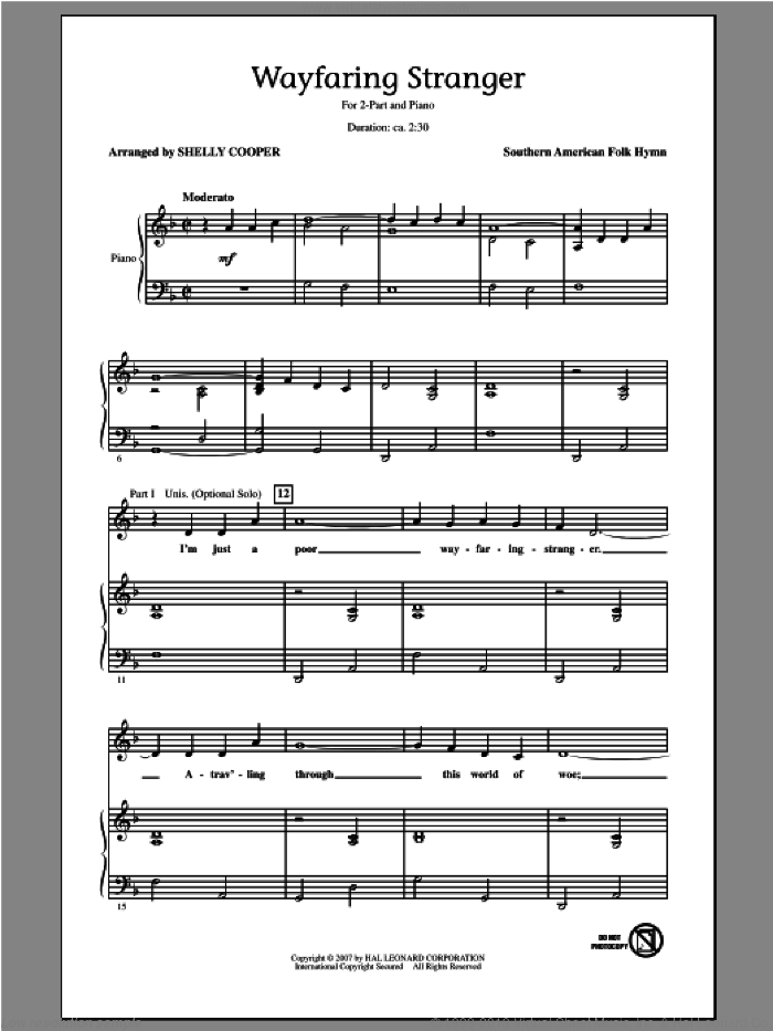 Wayfaring Stranger sheet music for choir (duets) by Shelly Cooper. Score Image Preview.