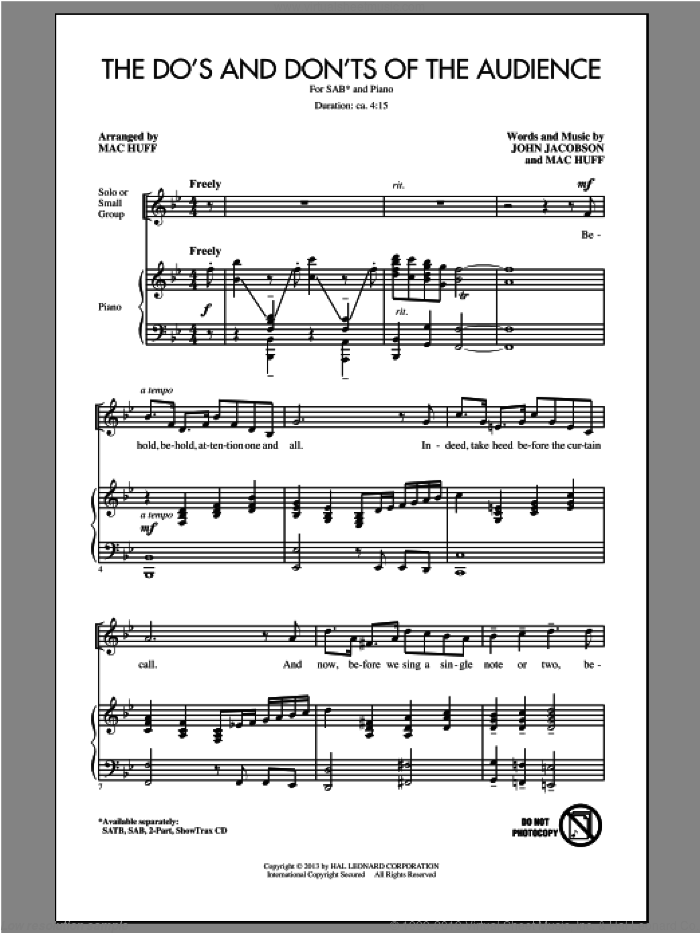 The Do's And Don'ts Of The Audience sheet music for choir (SAB) by Mac Huff and John Jacobson. Score Image Preview.