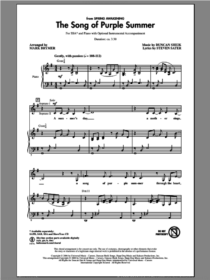 The Song Of Purple Summer sheet music for choir and piano (SSA) by Mark Brymer. Score Image Preview.