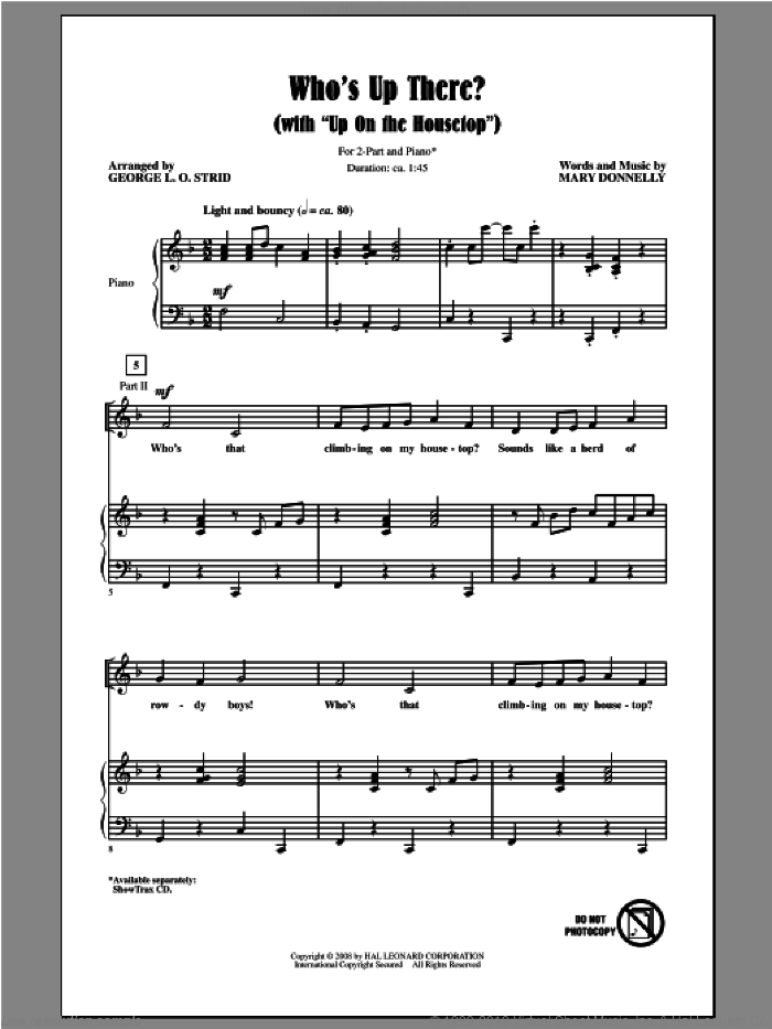 Who's Up There? (with Up On The Housetop) sheet music for choir and piano (duets) by George L.O. Strid and Mary Donnelly. Score Image Preview.