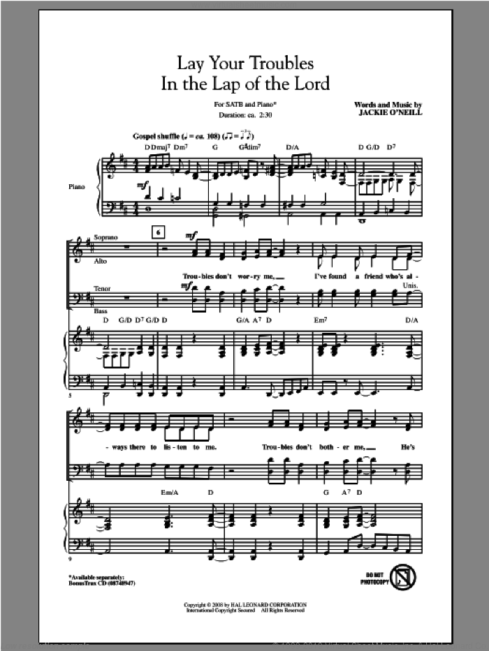 Lay Your Troubles In The Lap Of The Lord sheet music for choir (SATB) by Jackie O'Neill. Score Image Preview.