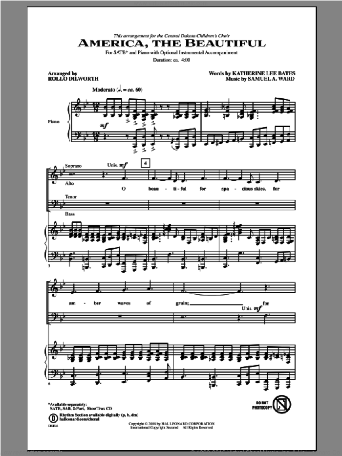 America, The Beautiful sheet music for choir (SATB: soprano, alto, tenor, bass) by Katherine Lee Bates and Rollo Dilworth, intermediate skill level
