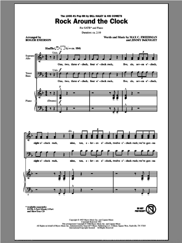 Rock Around The Clock sheet music for choir (SATB) by Roger Emerson and Bill Haley & His Comets