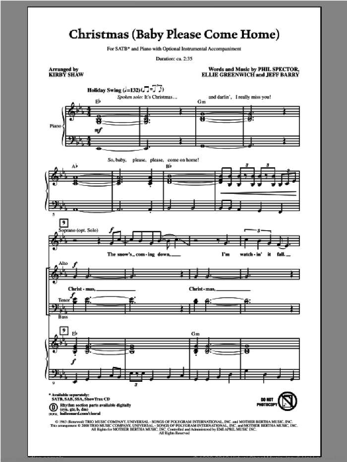 Christmas (Baby Please Come Home) sheet music for choir and piano (SATB) by Kirby Shaw. Score Image Preview.
