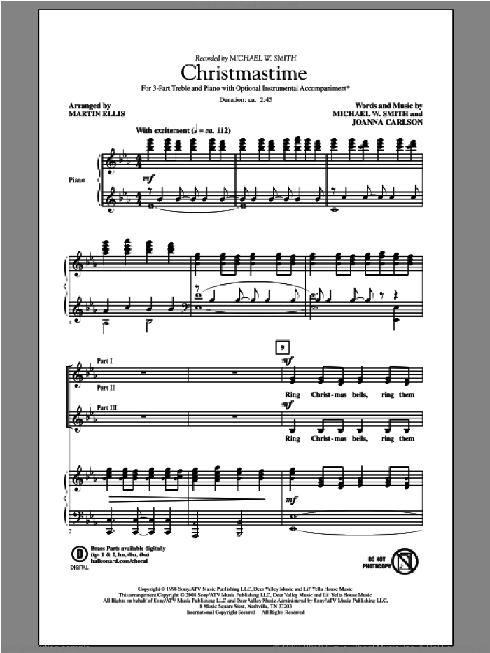 Christmastime sheet music for choir and piano (chamber ensemble) by Martin Ellis and Michael W. Smith. Score Image Preview.