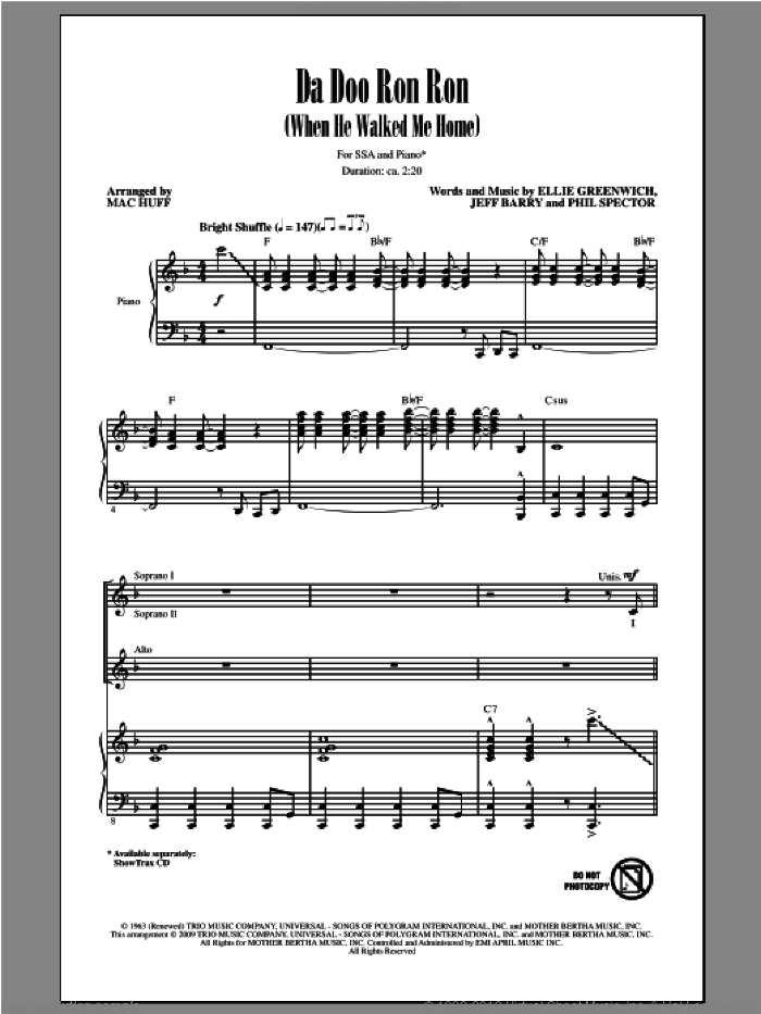 Da Doo Ron Ron (When He Walked Me Home) sheet music for choir (soprano voice, alto voice, choir) by Mac Huff. Score Image Preview.