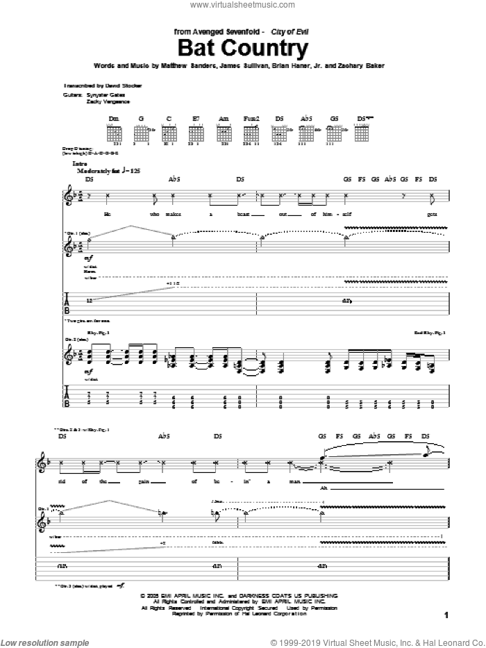Bat Country sheet music for guitar (tablature) by Avenged Sevenfold, Brian Haner, Jr., James Sullivan, Matthew Sanders and Zachary Baker, intermediate skill level