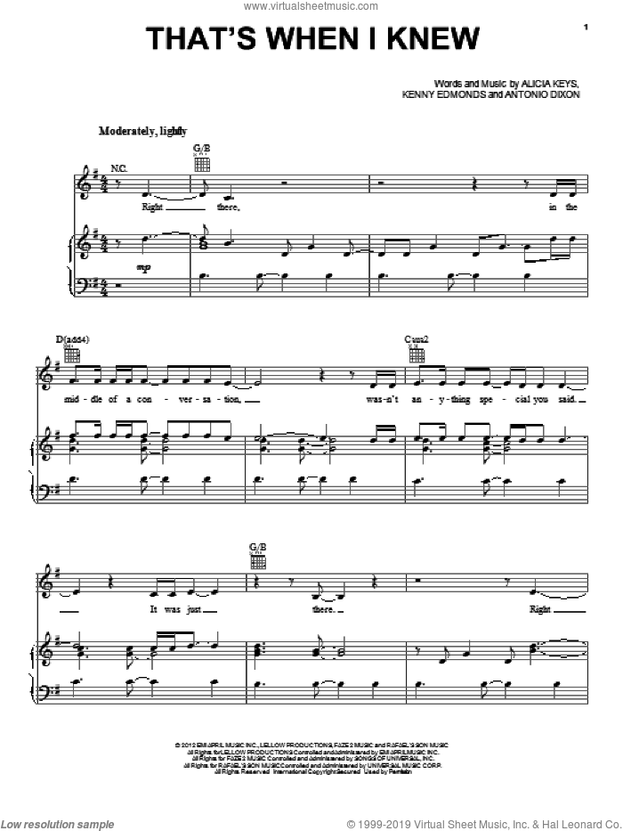 That's When I Knew sheet music for voice, piano or guitar by Alicia Keys, intermediate